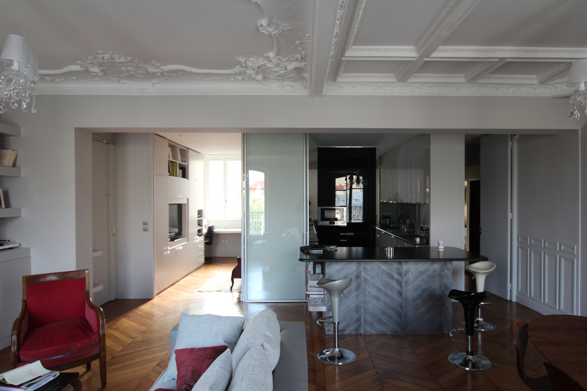 vue g n rale parois mobiles ouvertes. Black Bedroom Furniture Sets. Home Design Ideas