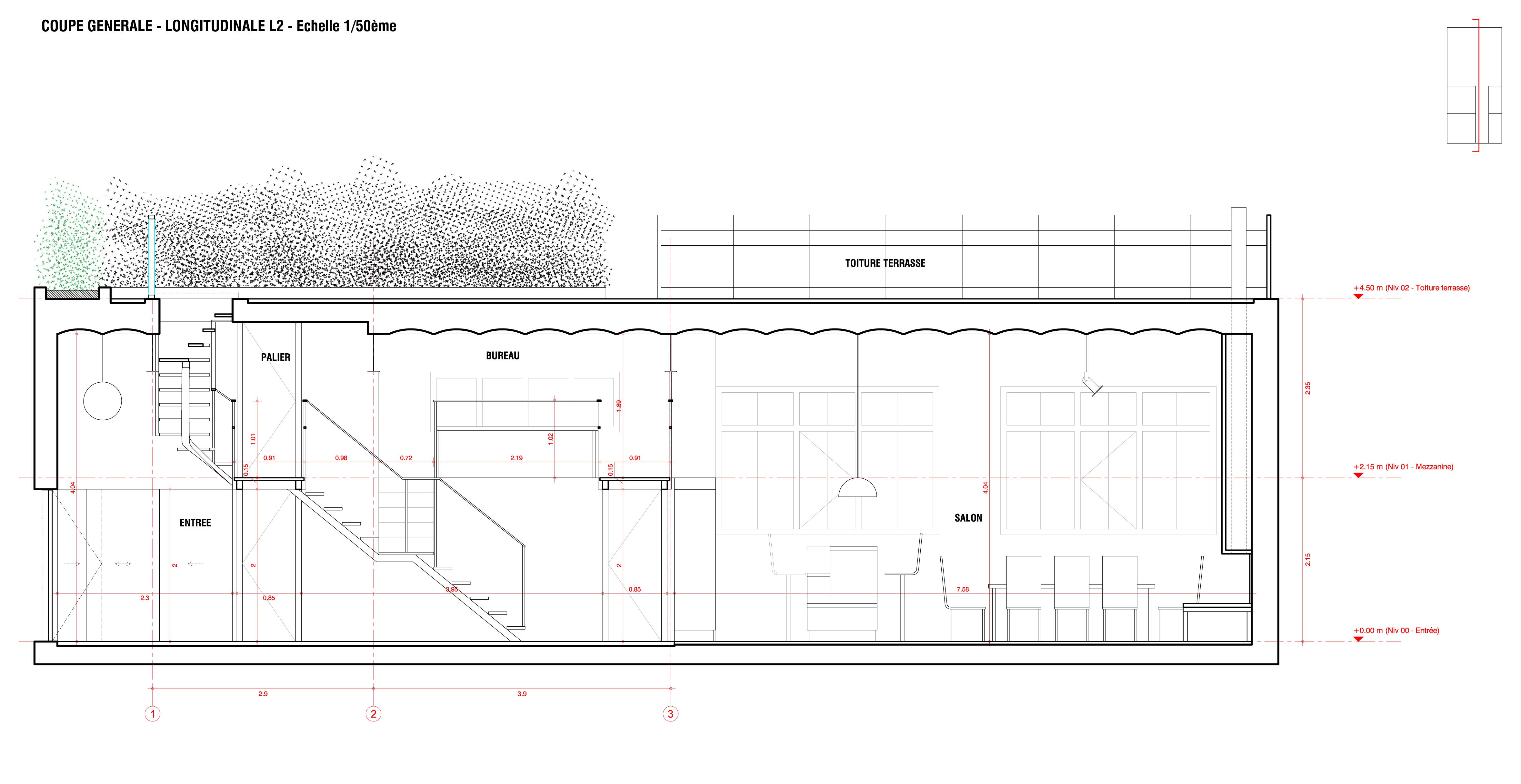 Coupe longitudinale escalier - Plan des facades et des toitures ...